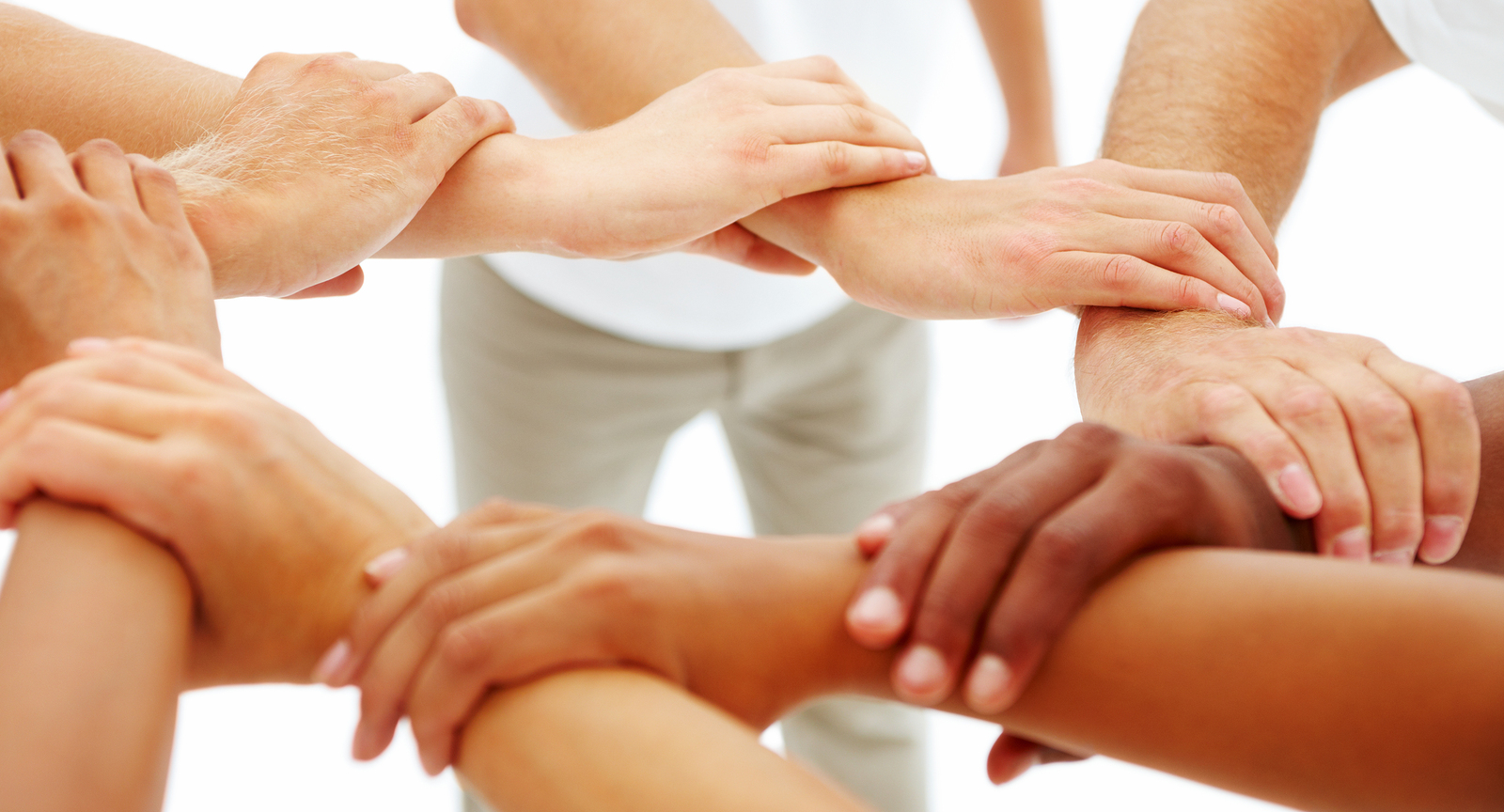 Definition of physical therapy - Closeup Portrait Of Hands Joining Each Other Isolated On White Background