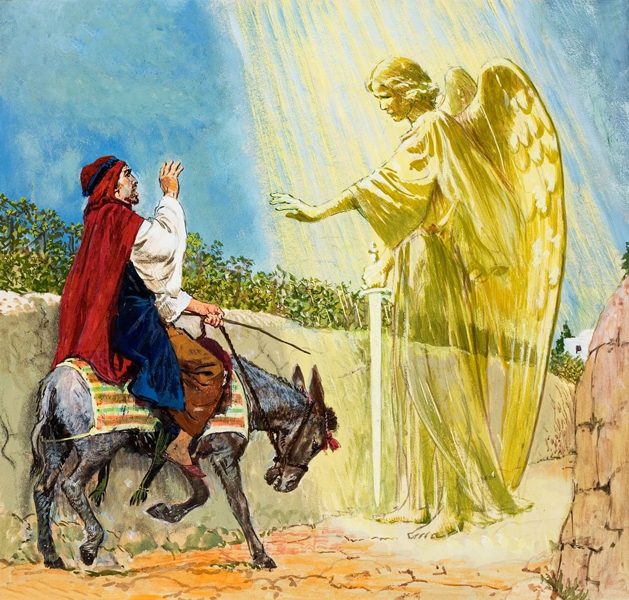 Angel Photos From The Bible The Lord Of The: N22-8: Balaam's Spiritual Blindness Prevents Him From